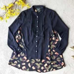 Anthro Maeve Navy Blue Hi Lo Floral Button Up